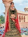 image of Dark Green Velvet Fabric Designer 3 Piece Lehenga Choli With Embroidery Designs