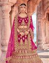 image of Velvet Fabric Embroidered Rani Party Wear Lehenga With Enchanting Blouse