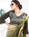 photo of Occasion Wear Lycra Fancy Work Ruffle Border Saree In Khaki Color With Designer Blouse