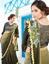 image of Occasion Wear Lycra Fancy Work Ruffle Border Saree In Khaki Color With Designer Blouse