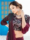 photo of Fancy Work On Lycra Burgundy Color Function Wear Ruffle Border Saree With Marvelous Blouse