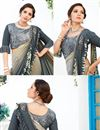 photo of Grey Color Lycra Wedding Wear Ruffle Border Saree With Fancy Work And Gorgeous Blouse