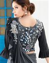 photo of Lycra Fancy Work Designs On Grey Color Reception Wear Ruffle Border Saree With Attractive Blouse