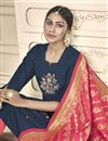 photo of Fancy Embroidered Festive Wear Straight Cut Dress In Navy Blue Cotton Fabric