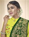 photo of Fancy Yellow Festive Wear Embroidered Straight Cut Dress In Cotton Fabric