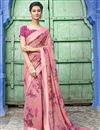 image of Cotton Fabric Pink Designer Festive Wear Printed Saree