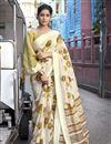 image of Cotton Fabric Designer Festive Wear Beige Printed Saree