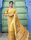 image of Designer Cotton Fabric Festive Wear Yellow Printed Saree