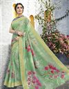 image of Classical Sea Green Designer Puja Wear Linen Fabric Printed Saree