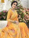 photo of Printed Work On Classical Orange Linen Fabric Designer Puja Wear Saree