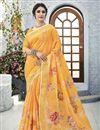 image of Printed Work On Classical Orange Linen Fabric Designer Puja Wear Saree