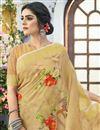 photo of Beige Classical Linen Fabric Designer Puja Wear Printed Saree
