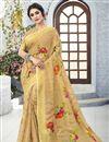 image of Beige Classical Linen Fabric Designer Puja Wear Printed Saree