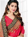 photo of Art Silk Embroidery Work On Rani Reception Wear Saree With Charming Blouse