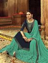 photo of Navy Blue Embroidered Georgette Traditional Wear Sharara Top Lehenga