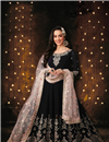 image of Black Party Wear Anarkali Salwar Suit In Georgette With Embroidery Work