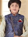 photo of Eid Special Function Wear Art Silk Fabric Beige Color Kurta Pyjama With Jacket For Boys