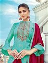 photo of Eid Special Cyan Color Party Wear Embroidered Palazzo Suit In Jacquard Fabric