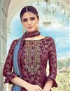 photo of Eid Special Wine Color Occasion Wear Palazzo Suit With Embroidery Work