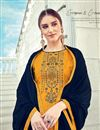 photo of Mesmeric Yellow Color Designer Party Wear Jacquard Fabric Palazzo Suit