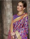 photo of Weaving Work On Purple Color Designer Saree In Art Silk Fabric
