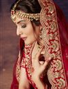 photo of Red Color Velvet Fabric Embroidery Work Bridal Wear Lehenga Choli