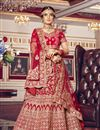 image of Red Color Velvet Fabric Embroidery Work Bridal Wear Lehenga Choli