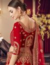 photo of Satin Fabric Bridal Wear 3 Piece Lehenga Choli In Red Color With Embroidery Work