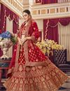 image of Satin Fabric Bridal Wear 3 Piece Lehenga Choli In Red Color With Embroidery Work