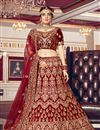 image of Velvet Fabric Maroon Color Bridal Wear Lehenga Choli With Embroidery Work