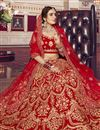 photo of Velvet Fabric Red Color Bridal Wear 3 Piece Lehenga Choli With Embroidery Work