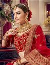 photo of Embroidered Bridal Wear Lehenga Choli In Red Color Velvet Fabric