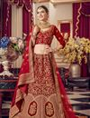 image of Embroidered Bridal Wear Lehenga Choli In Red Color Velvet Fabric