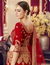 photo of Embroidered Satin Fabric Bridal Wear Lehenga In Red Color