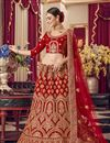 image of Embroidered Satin Fabric Bridal Wear Lehenga In Red Color
