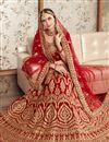 photo of Red Color Velvet Fabric Bridal Wear Embroidered Chaniya Choli