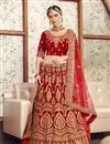 image of Red Color Velvet Fabric Bridal Wear Embroidered Chaniya Choli