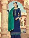 image of Eid Special Navy Blue Color Viscose Fabric Function Wear Palazzo Suit With Embroidery Work