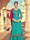 image of Luxurious Cyan Color Party Wear Viscose Fabric Palazzo Suit