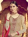 photo of Eid Special Pleasing Beige Color Designer Viscose Fabric Embroidery Work Palazzo Suit