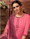 photo of Fancy Jacquard Fabric Casual Wear Printed Pink Color Patiala Suit