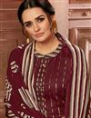 photo of Fancy Casual Wear Jacquard Fabric Maroon Color Printed Patiala Suit