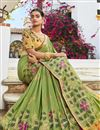 photo of Jacquard Silk Fabric Trendy Sea Green Color Puja Wear Weaving Work Saree