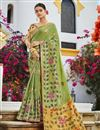 image of Jacquard Silk Fabric Trendy Sea Green Color Puja Wear Weaving Work Saree