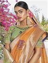 photo of Jacquard Silk Fabric Trendy Orange Color Puja Wear Weaving Work Saree