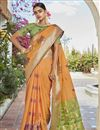 image of Jacquard Silk Fabric Puja Wear Trendy Orange Color Weaving Work Saree