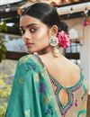 photo of Cyan Color Jacquard Silk Fabric Puja Wear Trendy Weaving Work Saree