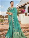 image of Cyan Color Jacquard Silk Fabric Puja Wear Trendy Weaving Work Saree