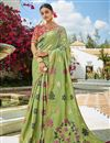 image of Sea Green Color Jacquard Silk Fabric Puja Wear Trendy Weaving Work Saree