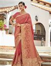 image of Trendy Jacquard Silk Fabric Puja Wear Peach Color Weaving Work Saree